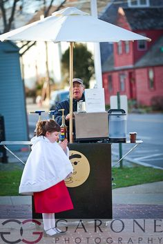 Cutest flower girl ever! Love the espresso cart idea warming up guests on their way from the church to the reception.