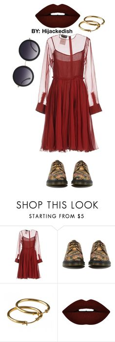 """Dark red"" by hijackedish on Polyvore featuring Rochas, Dr. Martens, Forever 21 and Alice + Olivia"