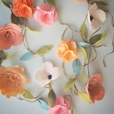 One of the garlands that went out today. Tell me what you think!  #danishandmadewedding #etsy #etsyshop #garland #handmade #felt #feltflowers #flowergarland #shippedout by suchasquirrel