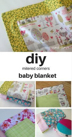 diy - Mitered Corners Baby Blanket - You Make it Simple Baby ideen diy - Mitered Corners Babydecke - Self Binding Baby Blanket, How To Sew Baby Blanket, Baby Blanket Tutorial, Easy Baby Blanket, Baby Blanket Crochet, Crochet Baby, Kids Crochet, Quilted Baby Blanket, Knitted Baby