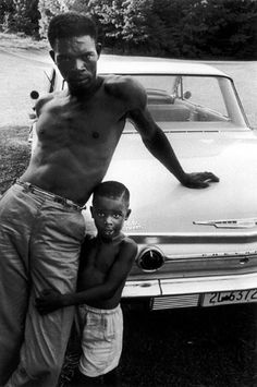 """adeshua: """"Bruce Davidson, Man and Child Leaning on Car, Tennessee, 1962 """""""