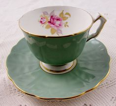 Aynsley Teal Green Tea Cup and Saucer with Pink Rose, Antique Tea Cup, Bone China