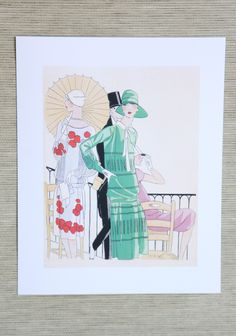 """Lucien Lelong Art Deco Fashion Print 16.99 at shopruche.com. Add the perfect touch of vintage haute couture to your walls with this elegant Art Deco print by early twentieth century French fashion designer Lucien Lelong.8"""" x 10"""""""