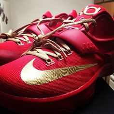 new concept 19d0e dccaf KD 7 VII ID Red Gold Kd 7, Nike Id, Red Bottoms, Cleats