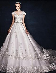 A-line V-neck Court Train Tulle Lace Wedding Dress