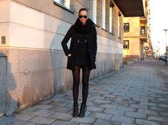 @kenzas. H&M coat, Melba dress, acne boots, Ginatricot scarf, ray ban