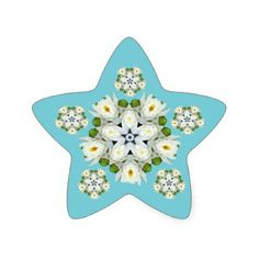Waterlily Snowflake Star Sticker - floral style flower flowers stylish diy personalize