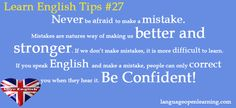 Learn English Tips #27 - Never be afraid to make a mistake..