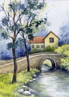 ACEO Original Miniature Watercolor Painting Landscape by Elena Mezhibovsky #Miniature