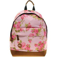 MiPac Mi Pac Floral Pink Rose Backpack (96 BRL) ❤ liked on Polyvore featuring bags, backpacks, accessories, floral, bookbags, pink, flower print backpack, knapsack bag, lightweight bags and backpack bags