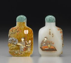 An embellished white and russet jade snuff bottle The bottle: 1820-1920, embellishment: Tsuda family, Kyoto, Japan, 20th century/ 2 3/8in (6cm) high, sold $ 13,750