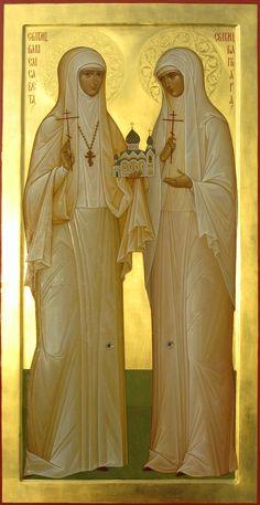 The Orthodox New Martyrs St Grand Duchess Elizabeth and St Sister Barbara icon Orthodox Catholic, Russian Orthodox, Catholic Saints, Patron Saints, Religious Images, Religious Icons, Religious Art, Saint Lazarus, Grand Duc