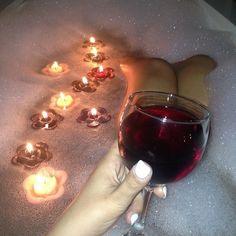 Bubble baths // candles // wine