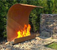 SO much cooler than burn barrels! Modern Outdoor Fireplace Contemporary garden patio living home decor gardens plants flowers diy outdoor house modern inspiration pool fountain design designs Outdoor Rooms, Outdoor Gardens, Outdoor Living, Modern Outdoor Fireplace, Outdoor Fireplaces, Backyard Fireplace, Outdoor Fireplace Designs, Outside Living, Fire Pit Backyard