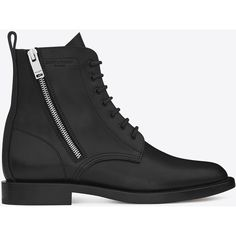 Saint Laurent Signature Rangers Lace-Up Boot With Side Zips In Black... ($1,295) ❤ liked on Polyvore