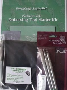 PCA EMBOSSING TOOL STARTER KIT    The PCA Embossing Starter kit includes 3 PCA Embossing Tools: Scriber, Medium Ball, Shader. White Gel Pen, Parchment Paper, Mini Embossing Mat, Instructions and Pattern to make.