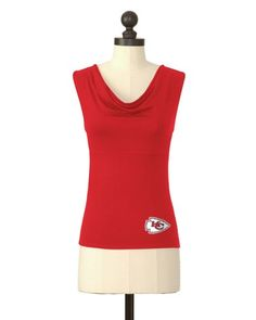 The Kansas City Chiefs Cowl Neck Tank in Red