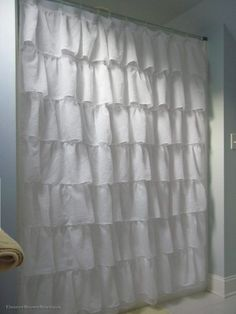 Shabby Crushed Voile Ruffled Shower Curtain - 7 Colors - Eleanor Brown Boutique