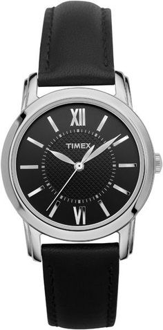 Timex Women's Classic | Black Leather Strap Black Dial | Style Watch T2N681 #Timex #Dress