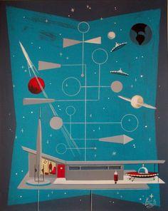 El Gato Gomez Painting Retro Mid Century Modern Atomic Sci Fi Outer Space Rocket | eBay