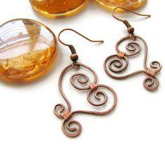 $30 Rustic Wire Heart Earrings Copper Wire Wrapped  by heversonart, $30.00