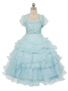 Sky Blue Organza Pick Up Skirt Pearl Bodice Flower Girl Dress (Available in Sizes 4-16 in 4 Colors)