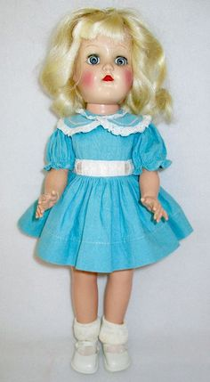 "1950s 14"" HP Ideal Toni Doll- Platinum Blonde, Blue Eyes- Original Dress- P-90"