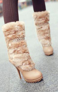 Imitation Fur and Rhinestones Design Short Boots dresslily.com