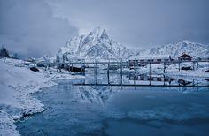 the bridge - a small bridge near reine Small Bridge, Lofoten, Still Life, Mount Everest, Mountains, Nature, Travel, Outdoor, Outdoors