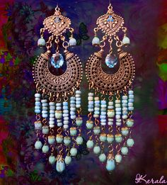 Long Beaded Ethnic Boho Chandelier Earrings Turquoise by kerala, $38.00