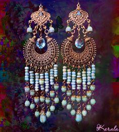 Long Beaded Ethnic Boho Chandelier Earrings Turquoise by kerala, $38.00