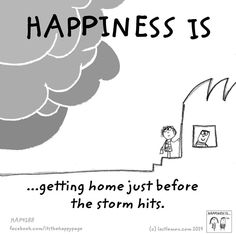 Happiness is ...getting home before the storm hits.