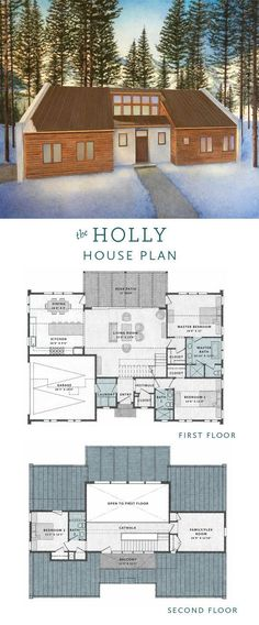 The Holly House is a 4 bedroom transitional house plan with an open floor plan, flexible rooms, and an attached garage.