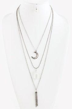 Antique Silver Pearl Crescent Tassel Layer Necklace Set
