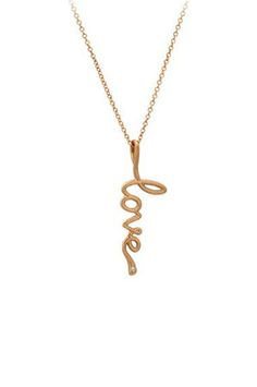 "Love Pendant by Avanessi - ""All you need is love!!! ... 14K gold pendant with a 16-18 inch chain. Each LOVE pendant is one inch long, with a matte finish & concluded with a diamond at the end."""