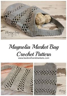 Magnolia Market Bag Crochet Pattern The Magnolia Market bag is a quick and easy crochet project! This bag is great for the farmer's market, library, or just to carry more yarn! - Magnolia Market Bag Crochet Pattern - Two Brothers Blankets Bag Crochet, Crochet Market Bag, Crochet Handbags, Crochet Purses, Crochet Gifts, Crochet Baskets, Knitting Patterns, Crochet Patterns, Crochet Leg Warmers