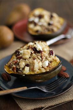 Stuffed Acorn Squash with Fall Harvest Quinoa Salad | http://www.theroastedroot.net