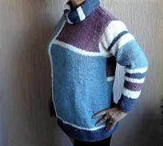 07af44128e6f Long pull femme Géométrique .Bleu blanc taupe. En laine.  Lecureuillecreative · Pull Fait Main ...