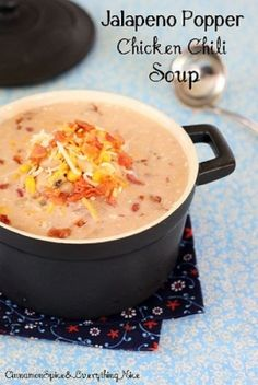 Jalapeno Popper Chicken Chili Soup   What a comforting weeknight dinner recipe! This would be a great winter recipe. It has a really warm flavor and creamy texture.