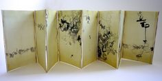 "Wisteria by Yukimi Annand. Text by Yosa Buson. 9 1/2"" x 5 3/4"" x 3/4"". 2012. Sumi and acrylic ink on Arches text wove."