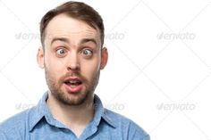 Attractive young man with a comic expression ...  Entertainer, amazed, astonished, bearded, blue eyes, comedian, comic, comical, confused, copy space, dizzy, dumb, expression, facial, fool, foolish, funny, giddy, humorous, male, man, portrait, shocked, silly, squint, squint-eyed, squinting, stupid, surprised, white background