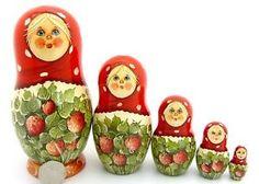 Russia stacking Dolls hand painted GIRLS Strawberry Matryoshka signed SHLENYA 5 | eBay