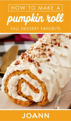 With delicious seasonal flavors, this Pumpkin Roll recipe from JOANN is sure to become your go favorite fall dessert! With a cream cheese frosting and topping of pecans, it's no wonder why this spiced treat is such a hit for the season. Thanksgiving Desserts, Fall Desserts, Delicious Desserts, Thanksgiving Projects, Dessert Recipes, Happy Thanksgiving, Apple Pie Cake, How To Make Pumpkin, Roll Recipe