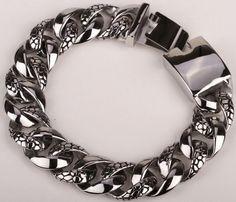 Heavy Duty Men's Stainless Steel Biker Bracelet Link Style Chain