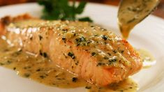 Perfect Pan Seared Salmon with Lemon Butter Cream Sauce – Easy Meals with Video Recipes by Chef Joel Mielle – Salmon Recipe Pan, Seared Salmon Recipes, Pan Seared Salmon, Salmon Sauce, Salmon With Skin Recipes, Salmon With Cream Sauce, Sauce Recipes, Fish Recipes, Seafood Recipes