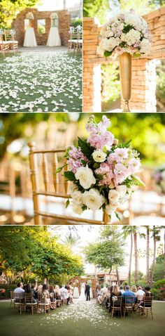 Rose petal aisle at Firesky Resort & Spa, Scottsdale Arizona wedding  Photography: Ryan And Denise | Floral: LUX Wedding Florist