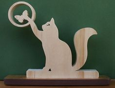 Scroll Saw Desk Plauqes | Cat and Butterfly Desk Sign Cut On Scroll Saw by DukesScrollSaw, $7.50