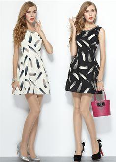 2014 outono moda pena impressão beading sem mangas vestido de uma peça em Vestidos de Roupas e Acessórios Femininos no AliExpress.com | Alibaba Group