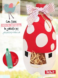 Como fazer casa de passarinho com garrafa pet - Reciclar garrafa http://www.garotacriatividade.com/casa-de-passarinho-de-garrafa/  #reciclagem #recycle #reciclar #DIY #reciclargarrafa #upcycle #idea