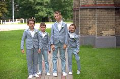 Boys in paade mode linen suits.